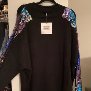 Black Sequin Arm Sweater